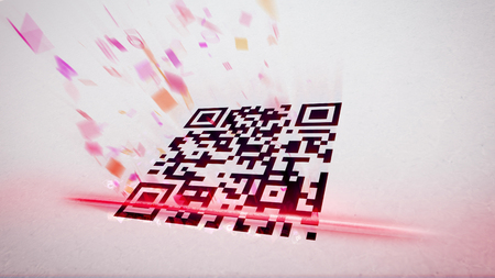 Original 3d rendering of an abstract QR code scanning illustration put aslant with flying up symbols, numbers, and figures of rosy and red colors. The black and white code is with a red laser line Stockfoto
