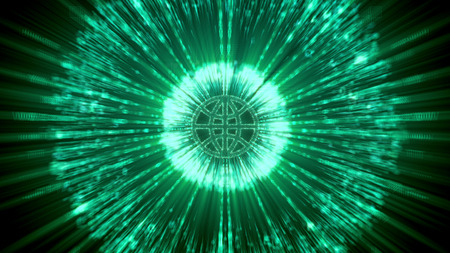 dazzling: Pioneering 3d illustration of a world shaped CPU with plasma substance around, sparkling rays around it in a cyberspace, in the dark green background. It looks bright and picturesque.