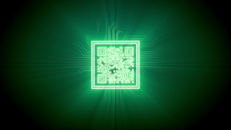 Brainteaser 3d rendering of a puzzle qr-code shaped CPU in a bright square with cross looking tubes around, shimmering lines in a cyberspace, in the dark green background. It looks great and gorgeous.
