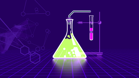 Impressive 3d rendering of an abstract chemical laboratory with numerous glass and metal tools such as flask, bulb, tube, and fastener, in the dark blue background Stock Photo