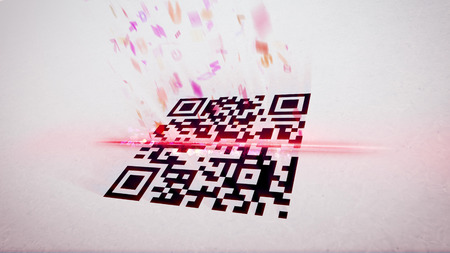 Arty 3d rendering of an abstract QR code scanning illustration put askew with flying up symbols, numbers, and figures of a rosy color. The black and white code is crossed with a red laser line