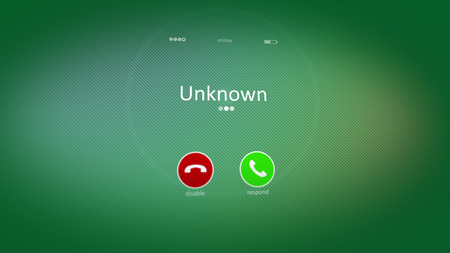 Stressful 3d rendering of an abstract phone calling, where the cell phone has Unknown word. It is activated in the light green background. That is a kind of strained world activity. Stock Photo