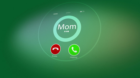 Hearty 3d rendering of an abstract phone calling, where the Mom inscription is seen. Also there are disable, and respond signs, put in the light green background. Mother is calling!