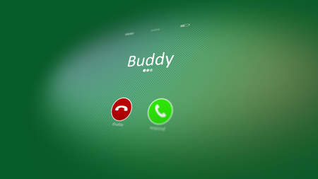 Friendly 3d illustration of an abstract phone calling, where a buddy inscription, disable, and respond signs, are seen and placed in the light green background. Friend is calling!