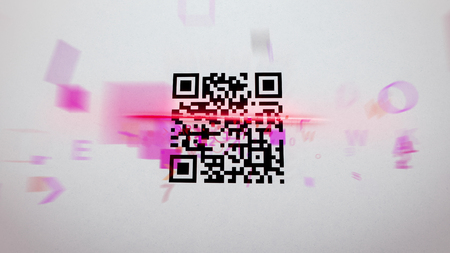 Fuzzy 3d illustration of an abstract QR code scanning procedure with rushing symbols, numbers, figures of a pink color. The black and white code is covered with a red laser line Stock Photo