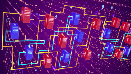 Superior 3d rendering of big data transfer through orange and blue lines, red and dark blue devices placed aslant. It happens in the violet background with bright spots and signs. Stock Photo