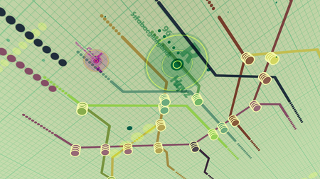 Down-to-earth 3d illustration of a metro map. It has a center with number 96 and letter D. It is covered with several routes, marked with colorful lines in the white backdrop with a grid.