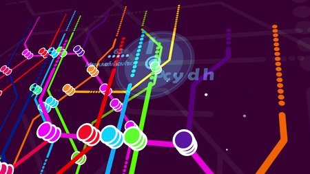 Multilayered 3d illustration of a metro map. It contains a big center with the letter I, orange, yellow, red, blue, green lines. It has heaps of nodes, signs, and letters in the violet background.