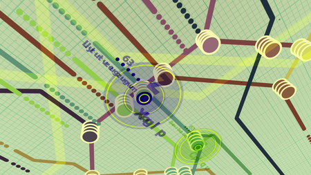 pragmatic: High school style 3d rendering of a metro map. It has a center with number 63, and several routes, marked with brown, violet, blue lines in the white background with a grid.