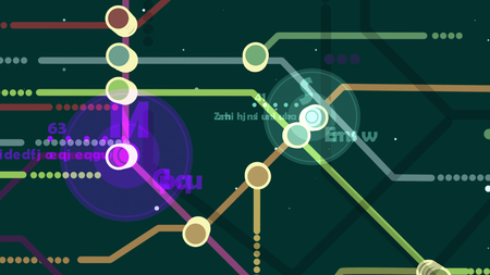 Multilayered 3d illustration of a metro map. It has two big violet and green centers with letters M and S, and a number of multicolored lines, nodes, signs, and numbers