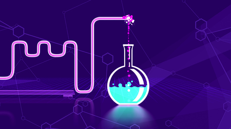 Holographic 3d illustration of an abstract chemical laboratory with curvy tubes, a round glass bulb with some blue liquid, a metallic fastener, some signs and forms in the blue background. Stock Photo
