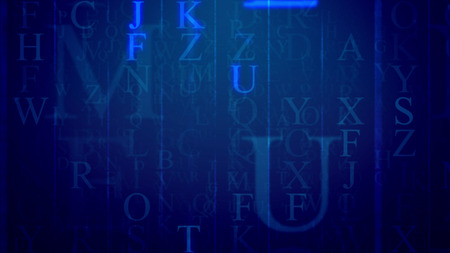 3d rendering of spinning Latin letters in the dark blue background. The most frequent are F, Z, U, J, K. All of them bring some information and need decoding efforts. Some letter sparkle.