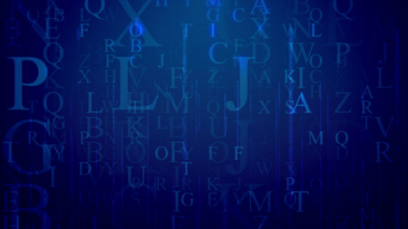 3d illustration of whirling Latin letters in the dark blue background with a network. The most frequent are P, L, J. They dazzle a bit. All of them cover up some info and need decoding efforts.