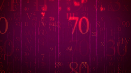 A sci-fi 3d illustration of falling digits and letters in the light violet background. The most numerous are seventy, nine, seven, forty, sixty, zero, ninety, ten, fifty, and others. All of them bring some info