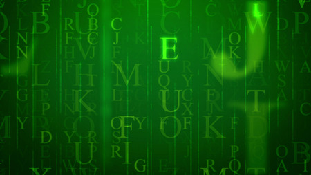 3d illustration of spinning Latin letters in the light green background with a grid. The most recurrent are O, K, F, B. They sparkle a bit. All of them hide some info and need deciphering efforts.