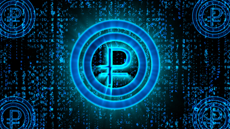 3d rendering of a blue bitcoin rouble sign placed in the center of two sparkling circles in the black background covered with lines of Matrix style digits falling down in a holographic cyberspace