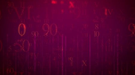 A cyberspace 3d rendering of falling numbers and letters in the light violet background. The most frequent are eight, zero, ninety, ten, fifty, thirty, and others. All of them look enigmatic