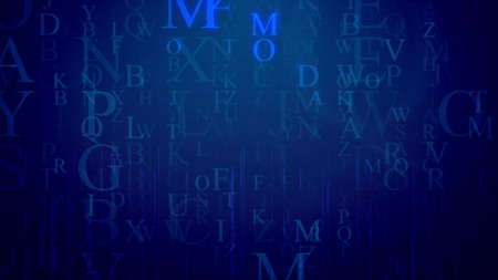 An astonishing 3d rendering of falling Latin letters in the dark blue background with a grid. The most frequent are M, O, P. They shine a bit. All of them hush some info and need decoding. Reklamní fotografie