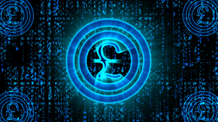 3d illustration of a blue bitcoin pound sign located in the center of two sparkling circles in the black background covered with lines of Matrix style digit lines falling in a hi-tech cyberspace