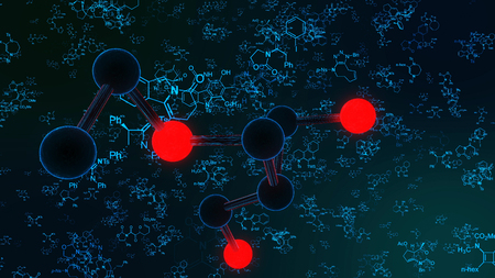 A multifaceted 3d illustration red and black molecule structures in blue shells on the black background, seen with a high resolution microscope with light blue letters and multi formed formulas.