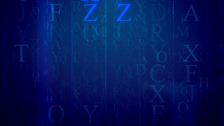 A striking 3d illustration of falling Latin letters in the dark blue background with a grid. The most frequent are F, Z, U. They sparkle a bit. All of them hide some info and need deciphering.