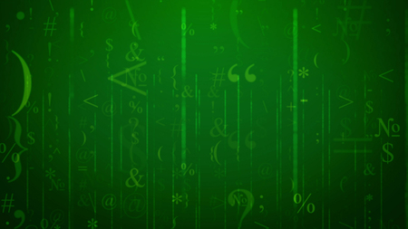 A futuristic 3d illustration of twisting signs and symbols in the light green background. The most frequent are question, quotation mark, round and figurative brackets, ampersand, at sign, Stock Photo