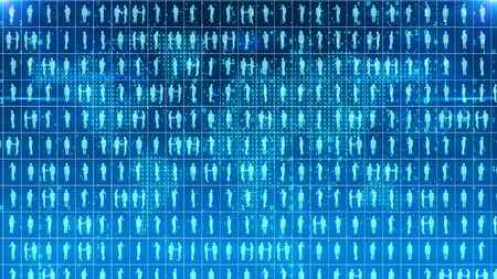 A geek looking 3d illustration of pragmatic businessmen and women standing in square cells of a light blue network imposed on the digital map in the background. Stock fotó