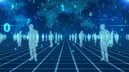 An impressive 3d illustration of lonely business people calling somebody on a blue network from crossed lines. The numerical light blue world map with flying bits is in the background.