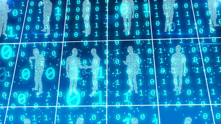 friendless: An original 3d illustration of transparent and identical business people standing in world office square cells of a light blue network, speaking, calling, and discussing, in the bit background Stock Photo