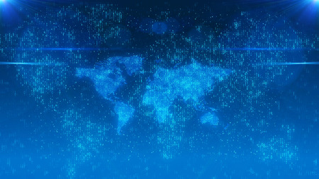 pragmatic: An impressive 3d illustration of a numerical world map from zeroes and ones shimmering in the light blue background. The global village effect in a cyber option forces to plunge in thoughts. Stock Photo