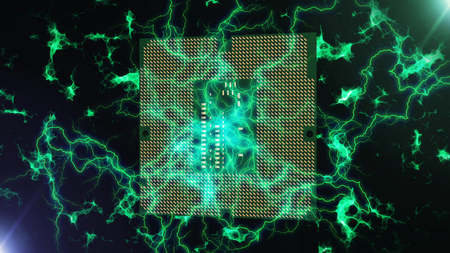 A neo-geo 3d illustration of a square shaped brain serving as a high speed CPU. It is green and made of pixels. It is encircled with powerful lightning lines in the black background