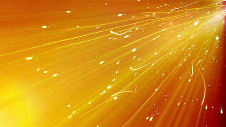 An impressive 3d illustration of white curvy lines rushing diagonally in the golden looking background. They fly like burning particles within the powerful and dazzling light ray.