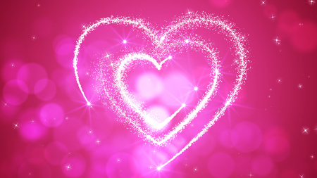A lovely 3d rendering of three sparkling hearts placed in each other. They look like a happy love triangle, encircled with sparkling stars, shimmering snowflakes in the rosy background.