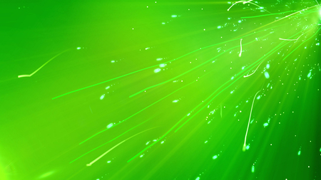 A mysterious 3d rendering of light green curvy lines rushing askew in the green background. They twirl and whirl like dazzling particles within some powerful light sun ray.
