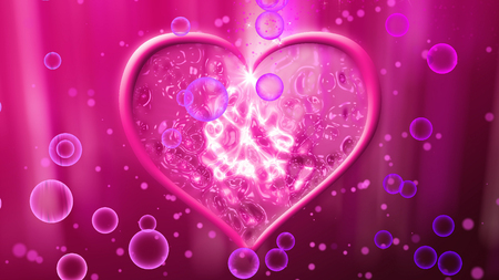 A romantic 3d rendering of a tender rosy heart which looks salient with a white curvy cross and a star inside of it. They fragile bubbles are flying around it. Saint Valentine is approaching!
