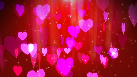 A beautiful 3d illustration of romantic rosy hearts flying in the air. They look amorous like hearts of beloved couples in the red and purple background. Saint Valentine will be soon!