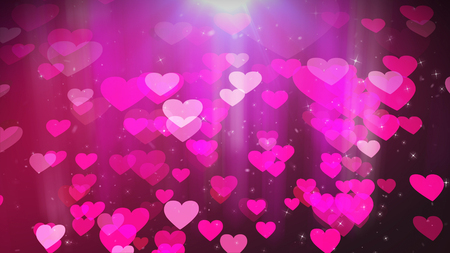 A sentimental 3d rendering of pink petal-looking hearts swirling in the air. They look amorous like hearts of honeys in the dark rosy background. Saint Valentine will unite the love hearts soon! Stock Photo