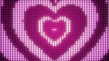 A pixel-looking 3d illustration of three shining hearts put into each other. They look like a happy family symbol with a Father, Mother, and a child, with two rosy dots in the center.
