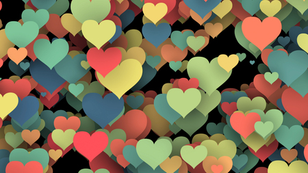 enamored: A celebratory 3d illustration of a fragile hearts of beloved people of different colors in the black background. They are made of paper. They soar in the air. Saint Valentine is soon!