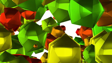 An optimistic 3d rendering of plenty of big multi corner balls of a green, red and orange colors. They spin around in a white background. They look celebratory like Christmas decorations. Stock Photo