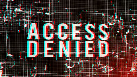 An artistic 3d rendering of a digital access denied order in capital letters put in a fluid cyberspace with  sparkling curvy shapes imposed on a white network in a dark green background.
