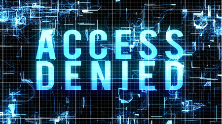 A graphic 3d rendering of a digital access denied order in blue capital letters put in a fluid cyberspace with shapeless forms imposed on a white grid in a black background. Stock Photo