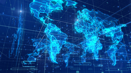 A volumetric 3d rendering of a global communication map placed aslant, with a light blue network, a lot of shimmering dots and lines, shining mass media links, multilayered effigies of continents.