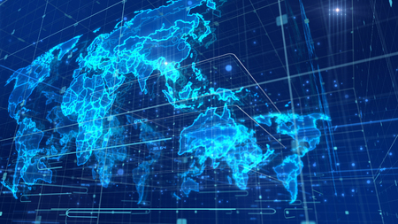 A techno-looking 3d rendering of a digital communication map put diagonally, with a light blue network, many glowing nodes and square devices, radiant broadcasting, holographic continents.    Stock Photo