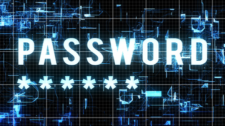 An advanced 3d illustration of a digital password with five corner asterisks in a big font located in cyberspace from direct perspective with a white network in a black background.