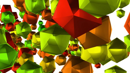 A New Year looking 3d illustration of many multi corner balls of a green, red and blue colors. They fly around in a white background. They look festive like Christmas decorations