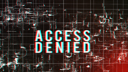 A computer modeled 3d illustration of a digital access denied command in capital letters put in a fluid cyberspace with  shapeless forms imposed on a white network in a black background. Stock Photo