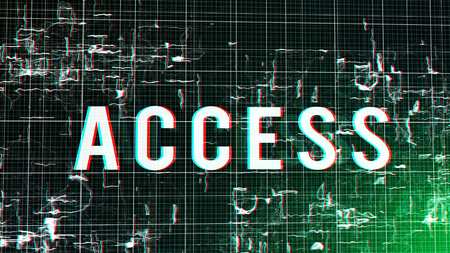 An original 3d illustration of a digital access command put in a fluid cyberspace with various plasma-looking and sparkling shapeless images imposed on a grid in a black and green background.