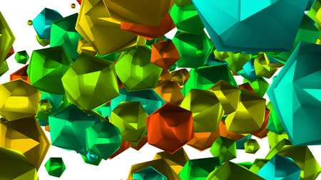 A festive 3d rendering of a lot of multi corner stars of a green, red and blue colors.