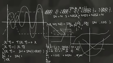 A high science 3d rendering of some physics theory drawn on a chalkboard a black color. It is covered with some equations, sinusoids, formulas, and curvy lines on x, y, z axis  Stock Photo